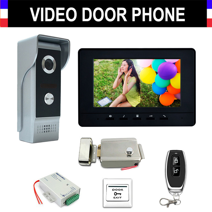 7'' Monitor Wired Video Intercom System Kit Aluminium Alloy Camera Video Doorbell Monitor+Electronic Lock Remote Control Unlock