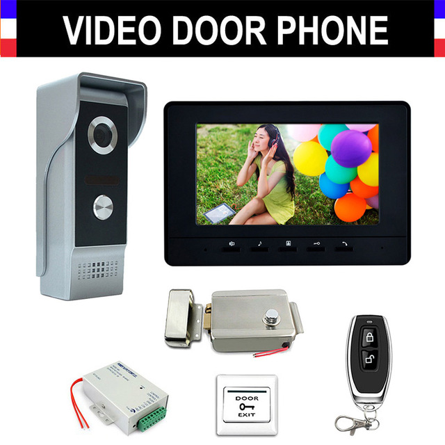 7'' Monitor Wired Video Intercom System Kit Aluminium alloy Camera Video Doorbell Monitor+Electronic Lock Remote Control Unlock
