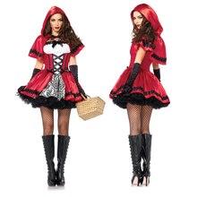 Erwachsene Frauen Halloween Klassische Rotkäppchen Kostüm Fantasia Karneval Party Cosplay Phantasie Kleid Outfit