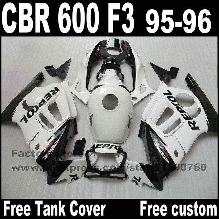 Fairings set for HONDA CBR 600 F3 1995 1996 white black REPSOL high quality fairing kit cbr600 95 96 +tank cover YP65