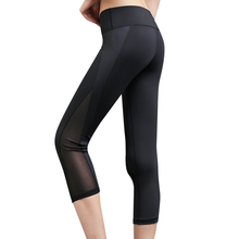 Women Capri pants mesh yoga Leggings pants Gym High Waist Running sports leggings Strech Fitness pants mesh trim color block gym leggings