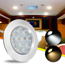 2Pcs Car LED Dome light interior Cabinet lamp White / Warm white led spot light for Camper van,Caravan,Bus T4 T5