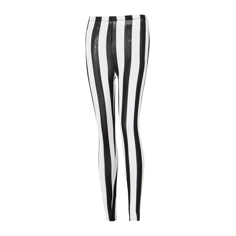 Women Casual Pants High Waist Fitness   Leggings   Stretch Trousers Skinny Striped Black White   Leggings   Women Workout Pants