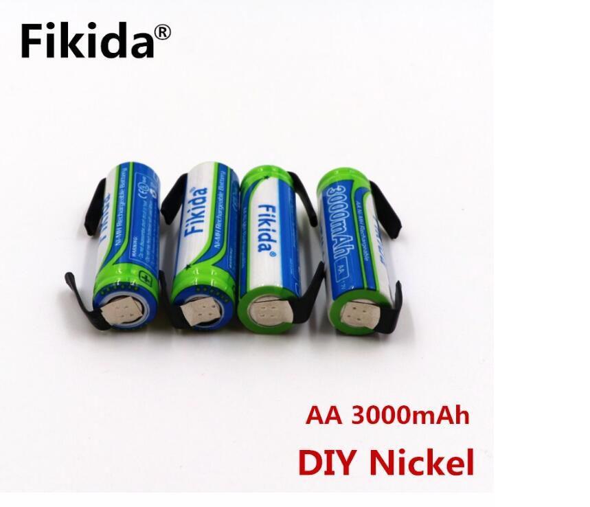 Fikida batera AA Bateria NI-MH 3000 mAh 1,2 V AA recargable batera 2A O controle remoto/el elétrico + DIY nquel