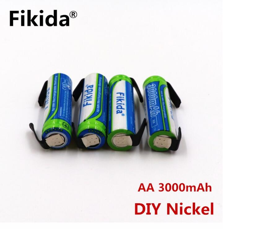 Fikida batera AA Ni-MH 3000 mAh 1,2 V AA batera recargable 2A Bateria O control remoto/el ctrico + DIY nquel