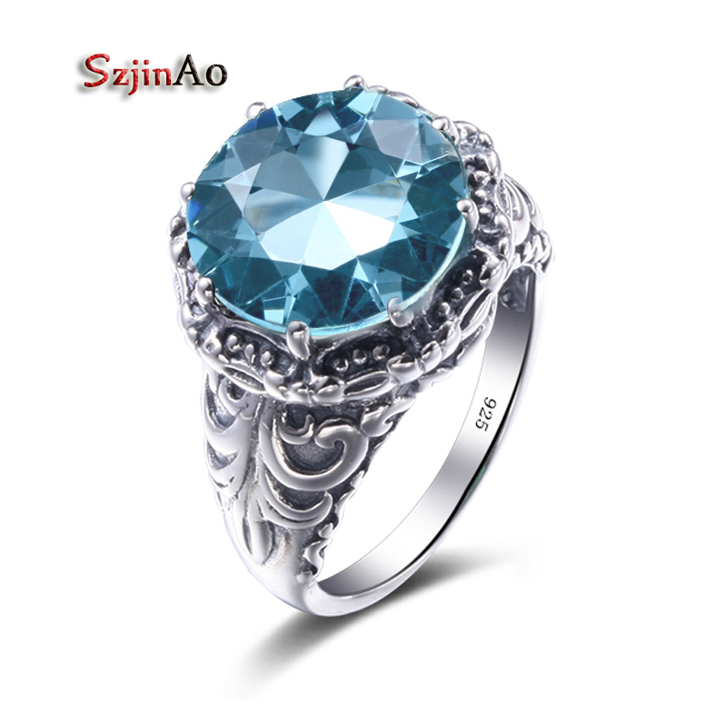 Szjinao Blue Birthstone Vintage Big Rings for Women Party Aquamarine Silver 925 Jewelry Princess Ring Female Bijouterie palace