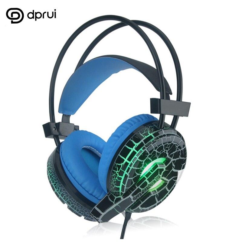 """Dprui חם נחש עור הדפסת משחקי אוזניות למחשב טלפון 3.5 מ""""מ זוהר רעש ביטול אוזניות עם מיקרופון משחקי אוזניות"""