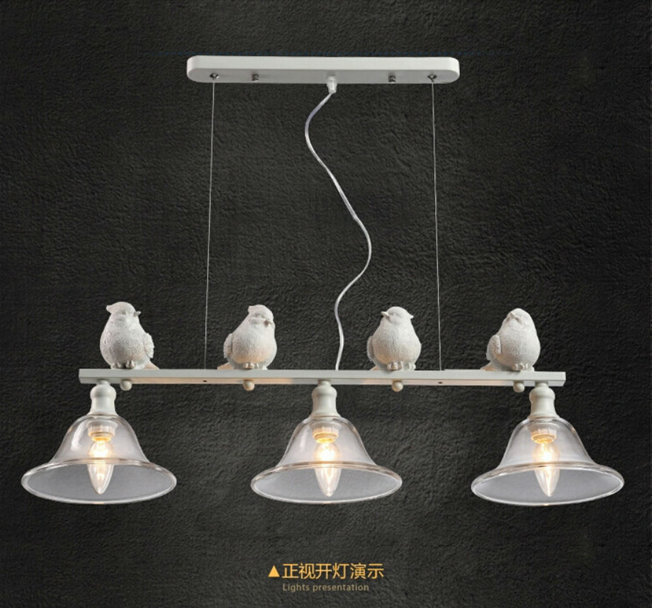 Modern Home Decoration 3 Head Bird Light Dining Room Pendant Light Glass Iron Light Bar Light Free Shipping modern home decoration a b c d led dining room smoky gray glass pendent light coffee shop light bar lights free shipping