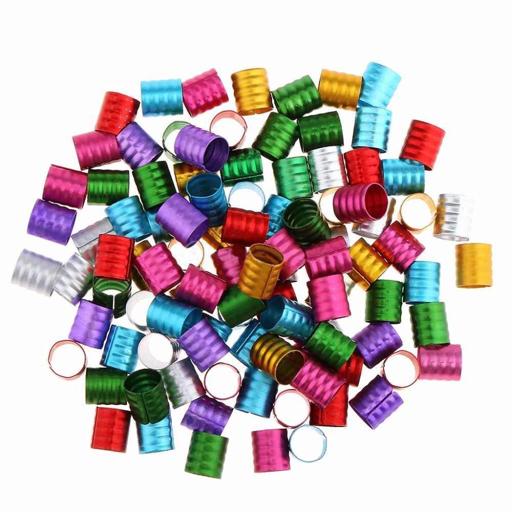 100 шт./лот Dreadlock бисер разноцветный покрытием волосы оплетка Dreadlock Регулируемый зажим для манжеты отверстие бисера комплект принадлежностей