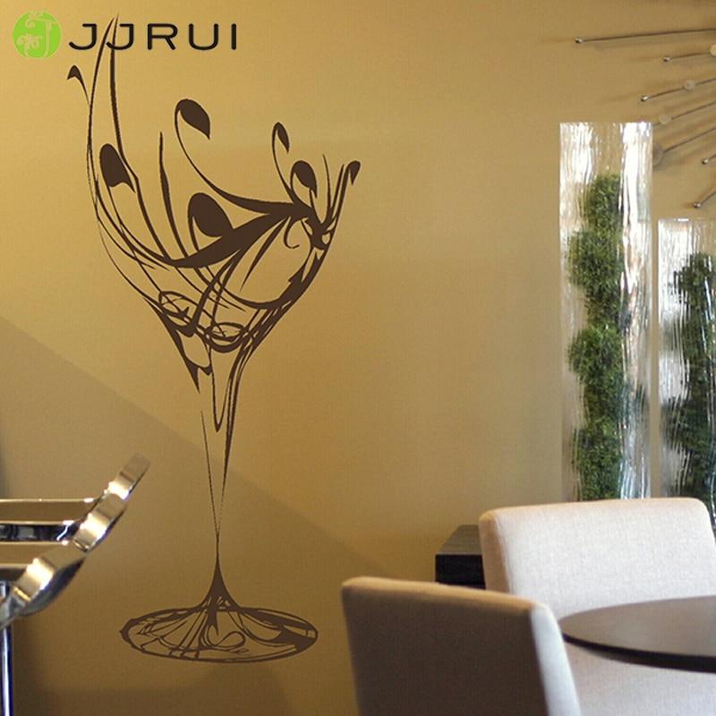 Jjrui Elegant Wine Glass Wall Sticker Art Design Kitchen Decal Transfer Stencil Home Decor 14