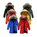 Children's down jackets 2017 new boys and girls long sections thickening warm coats kids casual fur collar winter down jacket
