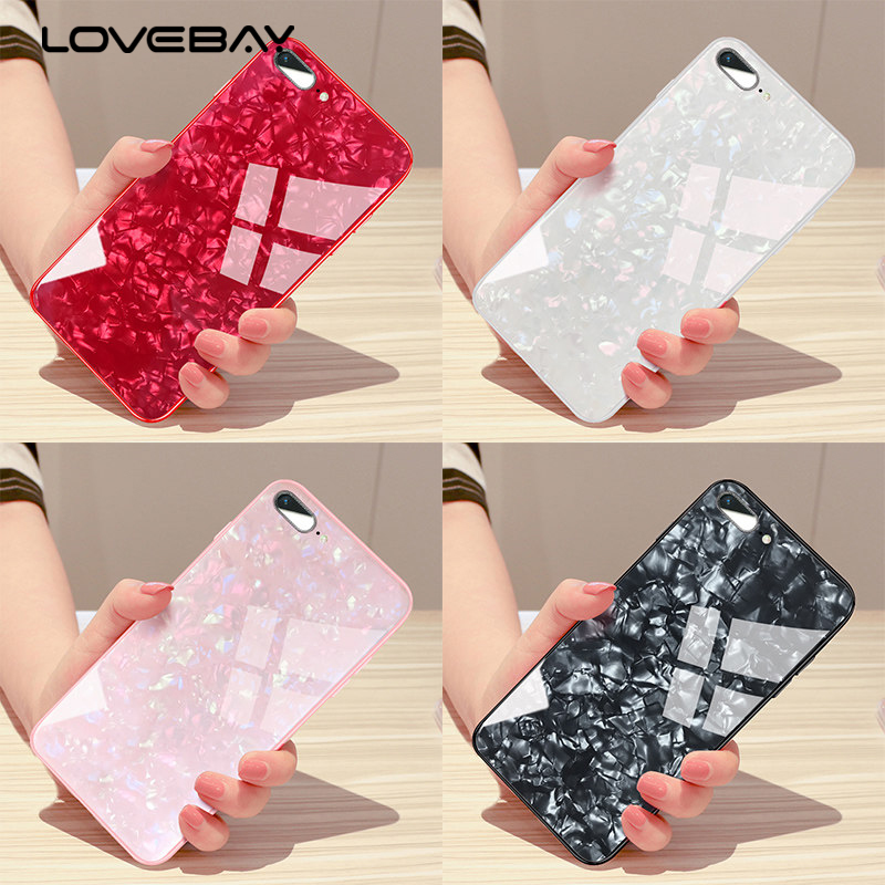 Lovebay Electroplated Marble Stone Pattern Phone Cases For iPhone X 8 7 6 6S Plus Soft Edge Hard Tempered Glass Back Cover Case