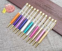 Stylo à bille de luxe, 1.0mm, 27 couleurs, sans huile, clip en feuille dor, cuivre, coloré, remplissant soi même poudre dorée, stylo à sable rapide
