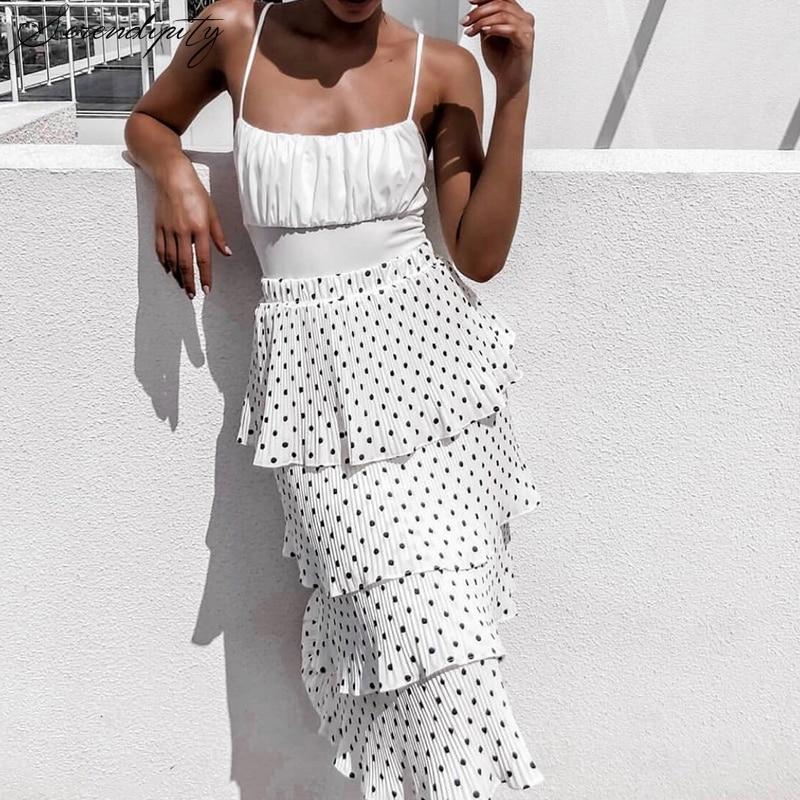 Motivated Srdp Polka Dot Summer Style Print Black Long Skirt Women Elastic Ruffle Skirt Girl Beach Casual White Pleated Layered Skirt 2019 Skirts
