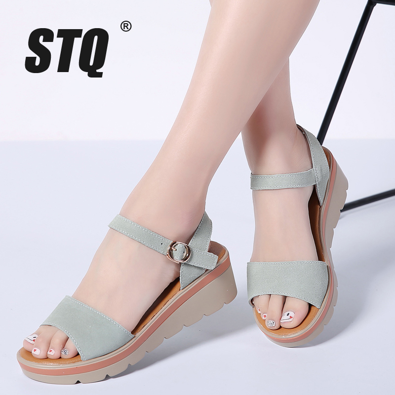 STQ Platform Sandals Heel Shoes 808 Ankle-Strap Thick Ladies Suede