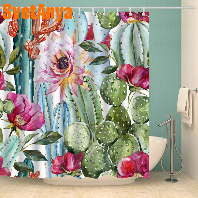 Floral Pastoral Leaves Style Curtains Waterproof Bathroom Curtains Polyester 180x180cm Decoration Toilet With Hooks