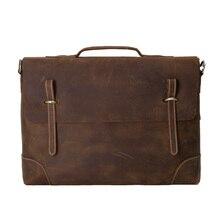 ROCKCOW Crazy Horse Leather Briefcase, Messenger Bag, Laptop Bag, Business Men's Bag 0341