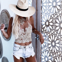 2018 Top Crop Sexy Halter Embroidered Open Hollow Lace Back Blouse Lace Top Backless Summer Fashion
