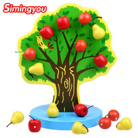 Simingyou Montessori Giáo Dục Bằng Gỗ Đồ Chơi Từ Apple Tree Đồ Chơi Trẻ Em Thời Thơ Ấu Đào Tạo B40-JF09 Thả Vận Chuyển