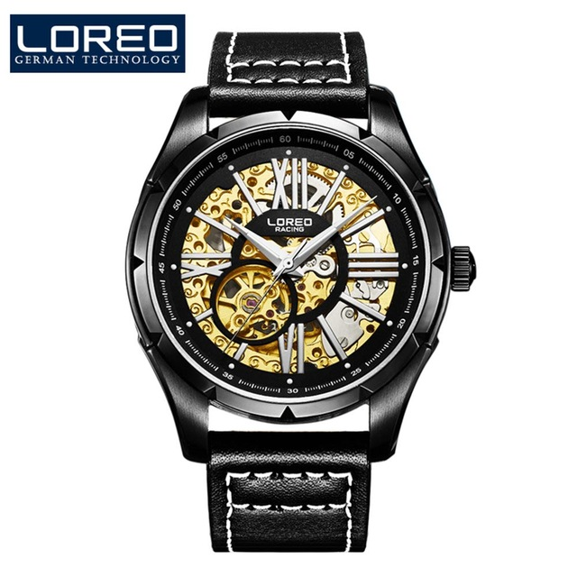 Stylish Classics LOREO black All hollow diamond stainless steel automatic self-wind waterproof fashion luminous men wrist watch