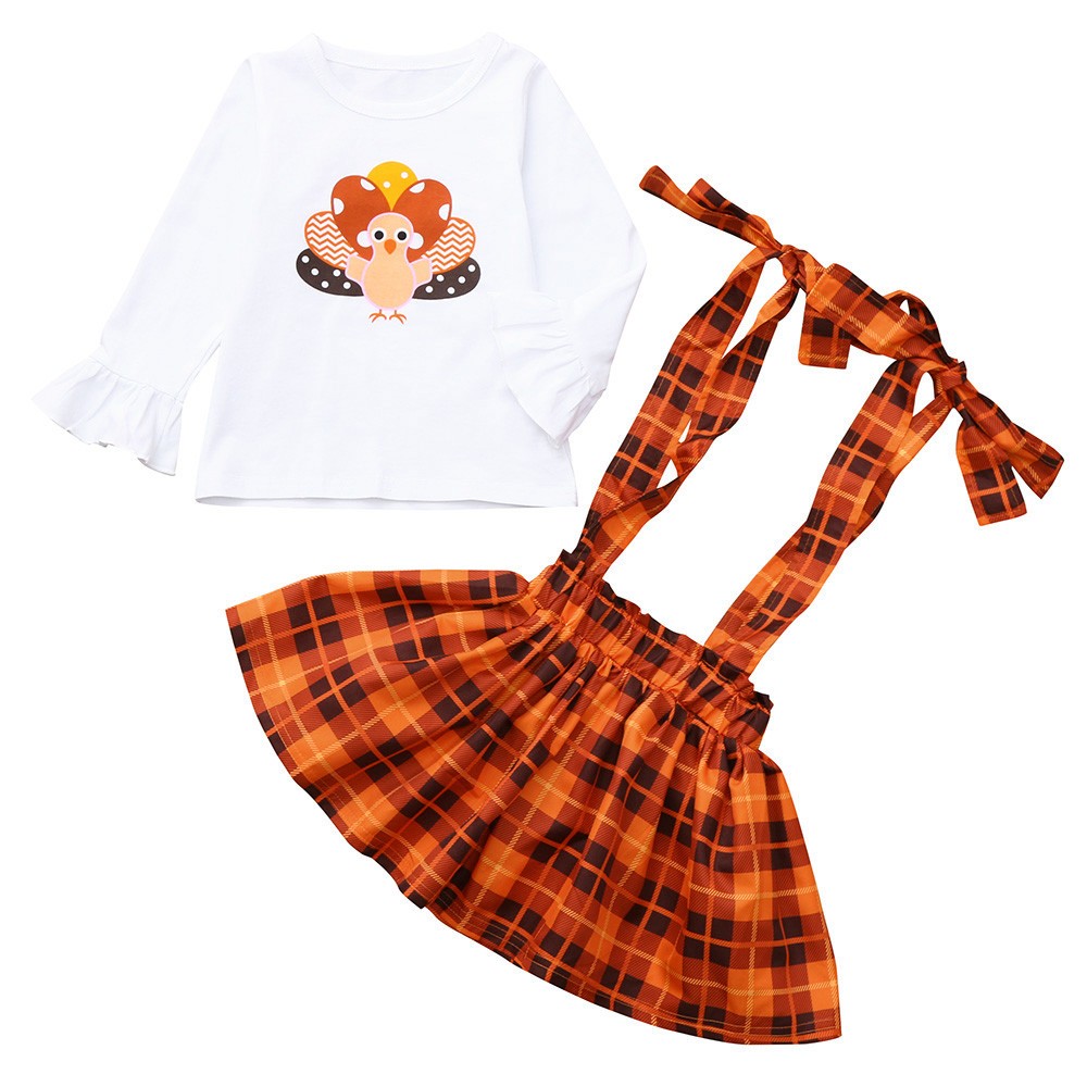 MUQGEW Autumn Toddler Baby girls clothing Turkey Print Long Sleeve Tops+Overalls Plaid Skirt Set kids clothes children clothing