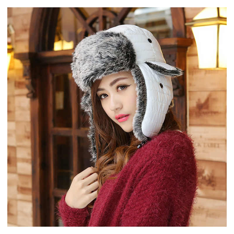 cdd2130655a New Winter Trapper Hats For Women Earflap Earmuff Caps Unisex Russian Hats  Men Aviator Hat Outdoor