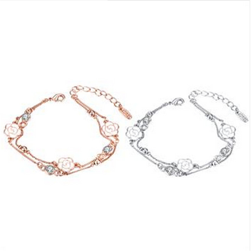 Rose gold-plating bracelet for ladies crystal jewelry bangles Inlaid Crystal Good price Never fade