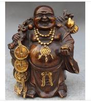 Art Brass Copper home decoration Tibetan Chinese Buddhism Bronze Gilt wealth Money bag happy laugh Maitreya Buddha Statue