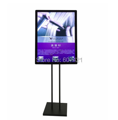 a2 floorstanding adjustable black metal advertising illuminated poster display frames with mangetic panel
