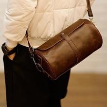 Fashion Mens messenger bag Barrel-shaped Vintage Leather Waterproof Shoulder Bag