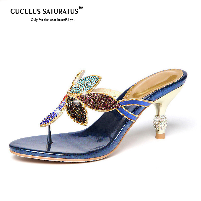 3f96f204b519bc Cuculus 2019 Summer Women s Rhinestones Slippers Fashion Hollow Out High  Heels Sandals Bohemia Style Flip Flops