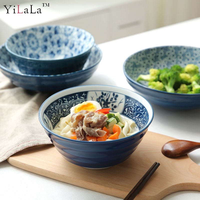 Yilala Ceramic Bowls 7 Inch 8 Inch Dinner Tableware Vintage Bowl for Soup Noodle Porcelain Dinnerware Blue and White Dishes