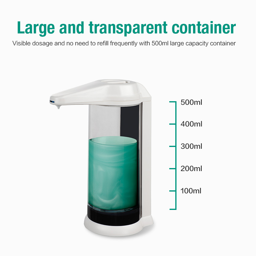 SVAVO Hand Free 500ml Automatic Soap Dispenser for Hand Sensitization with Infrared Sensor and Transparent Container for Kitchen and Bathroom 3