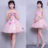 Cute Pink Mini Short Cocktail Dresses Flower Appliques Off the shoulder Prom Dresses Party Gowns cocktail mekko