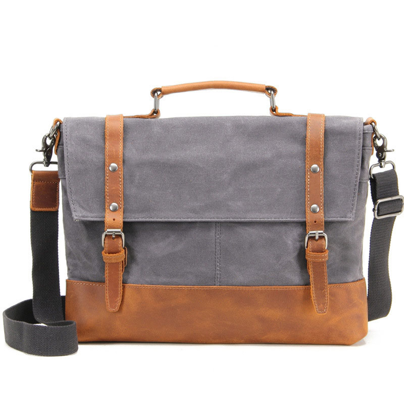 2017 Retro Men Briefcase Business Shoulder Bag Waterproof Canvas Leather Messenger Bags Handbag Tote Bag Casual Travel Bag casual canvas women men satchel shoulder bags high quality crossbody messenger bags men military travel bag business leisure bag
