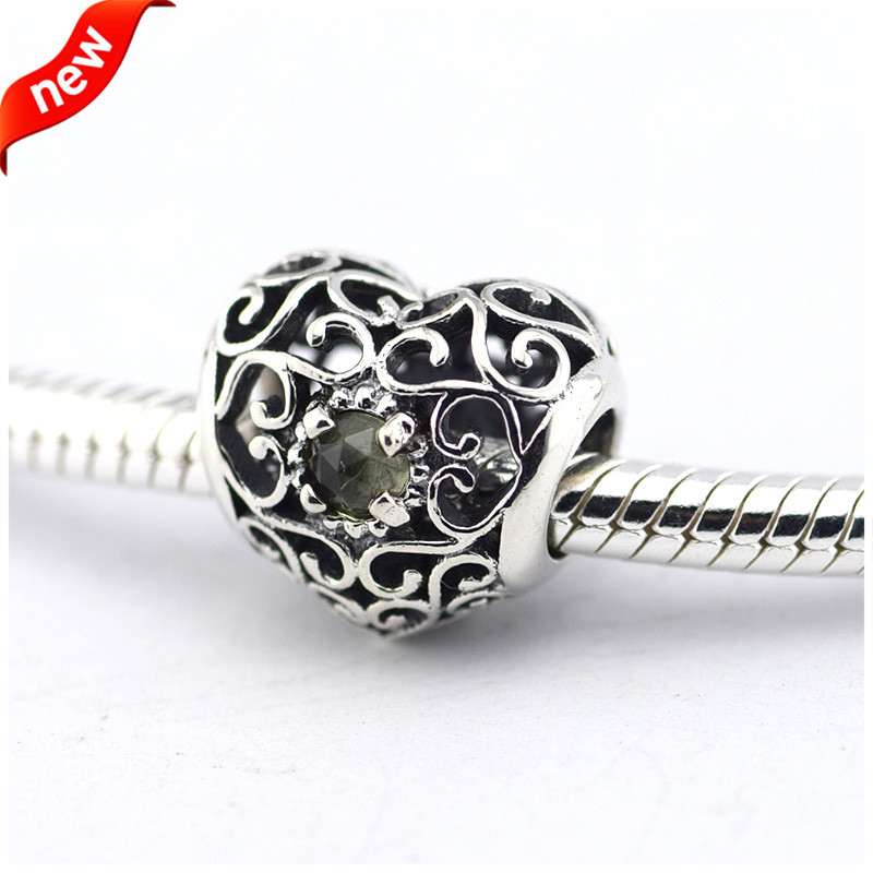 925 Silver Jewelry Beads DIY Fits Pandora Bracelet Charms August Signature Heart Silver Charm Beads for Jewelry Making zmzy vintage 925 sterling silver charms sunflower beads fits pandora charm bracelet diy making women jewelry