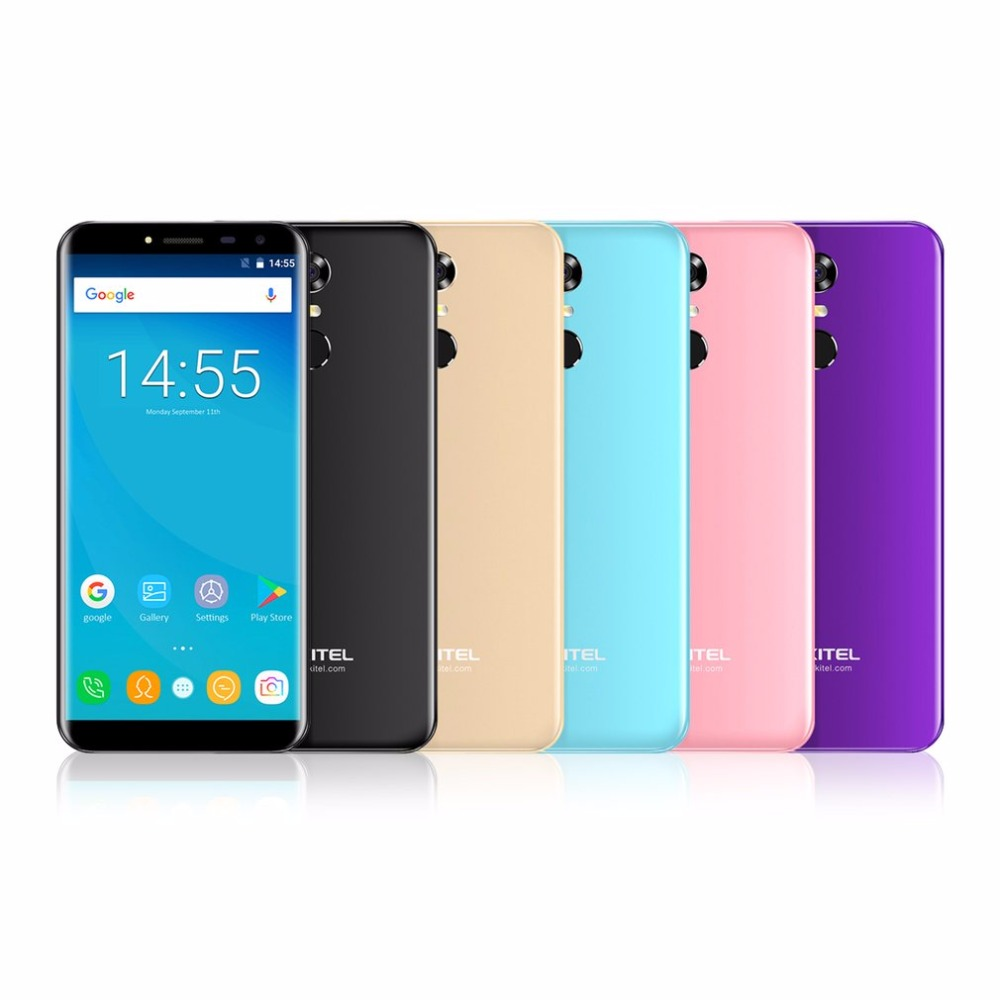 In Stock Oukitel C8 Android 7.0 Quad Core 2GB+16GB Mobile Phone 5.5 Inch 18:9 Screen 1.3GHz 13MP Cam 3000mAh Touch ID Smartphone