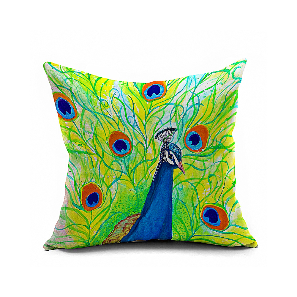 Home Decor Colorful Peacock Cushion Cover Cotton Linen Pillow Throw Case Pillow Sofa Case In