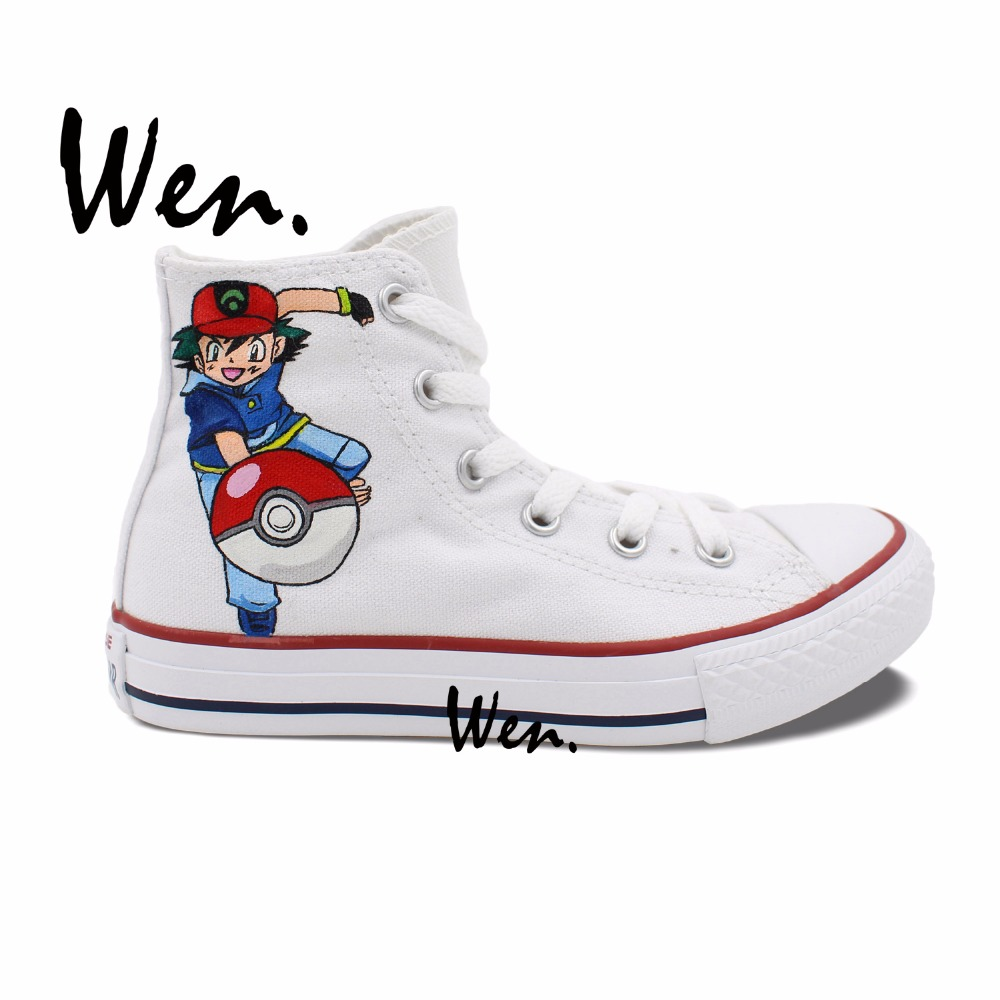 ФОТО Wen Hand Painted Shoes Design Custom Ash Pokemon Pocket Monster Men Women's White High Top  Anime Canvas Sneakers