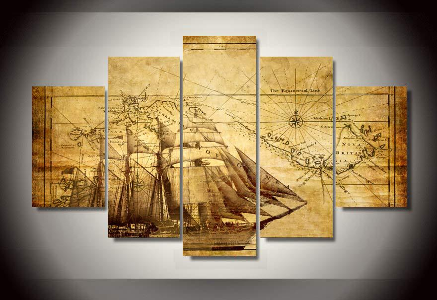 PcsSet Framed HD Printed Old Map Picture Wall Art Canvas Print - Framing a map print
