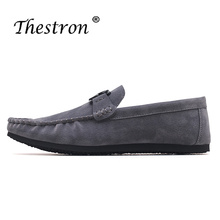 Thestron New Men Fashion Shoes Blue Red Boys Designer Sneakers Metal Male Loafers Suede Leather Mens Casual Footwear