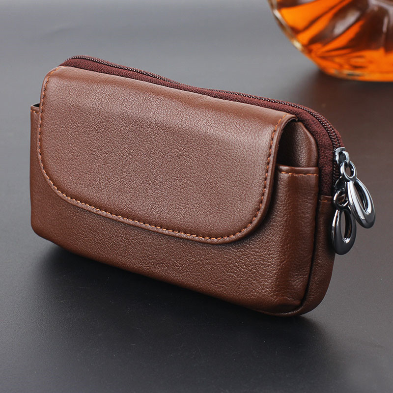 YIANG Universal Wallet Men's Leather Bags Fashion Genuine Leather Fanny Packs Belt Clip Mobile Phone Waist Bags Pouch 2 Size