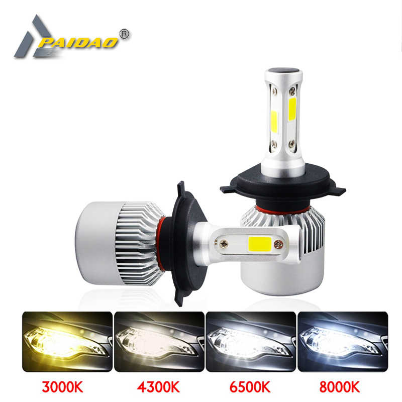 S2 Led H4 H7 Car Headlight 4300K 6500K 8000K 8000LM 9005 9006 H11 COB Aviation aluminm 9012 Car Styling lamp 12V 72W Combo Bulbs