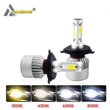 S2 Led H4 H7 Car Headlight 4300K 6500K 8000K 8000LM 9005 9006 H11 COB Aviation aluminm 9012 Styling lamp 12V 72W Combo Bulbs
