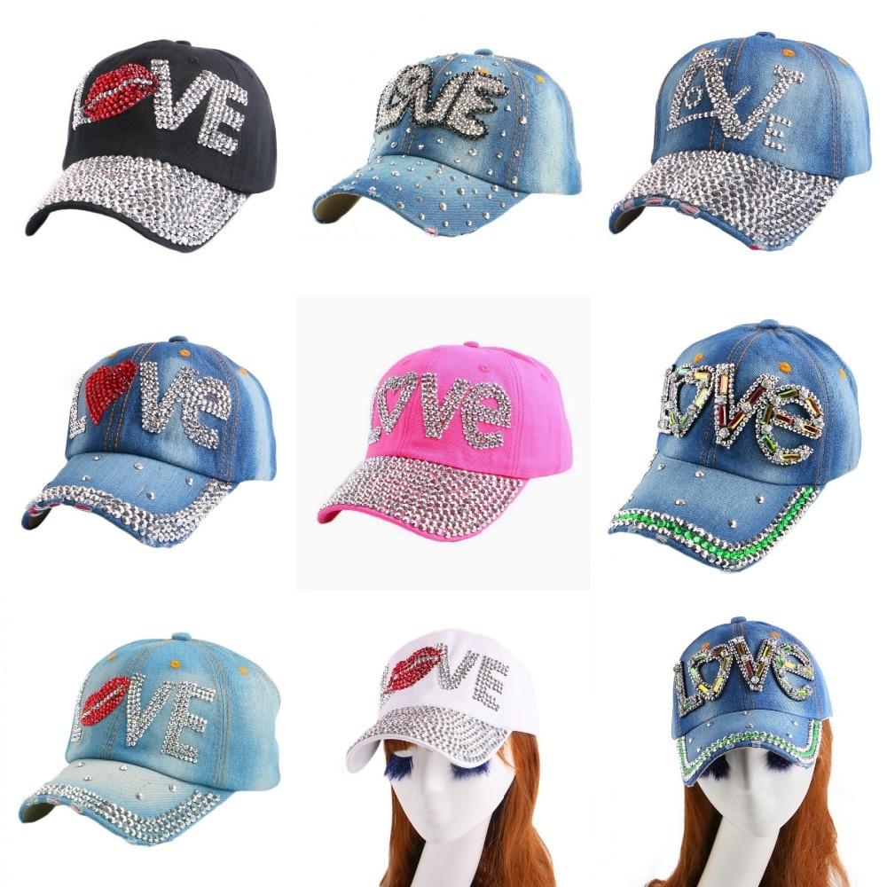 new fashion LOVE letter acrylic beads rhinestone women girl cute baseball cap brand casual snapback hats woman sports casquette