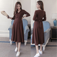 Loose Expectant Mother Nursing Dresses Long Sleeve Maternity Casual Dress Pregnant Women Long Nursing Clothing