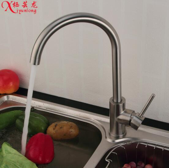European stainless steel kitchen faucet Quartet Big Bend hole sink faucet hot cold vegetables basin water