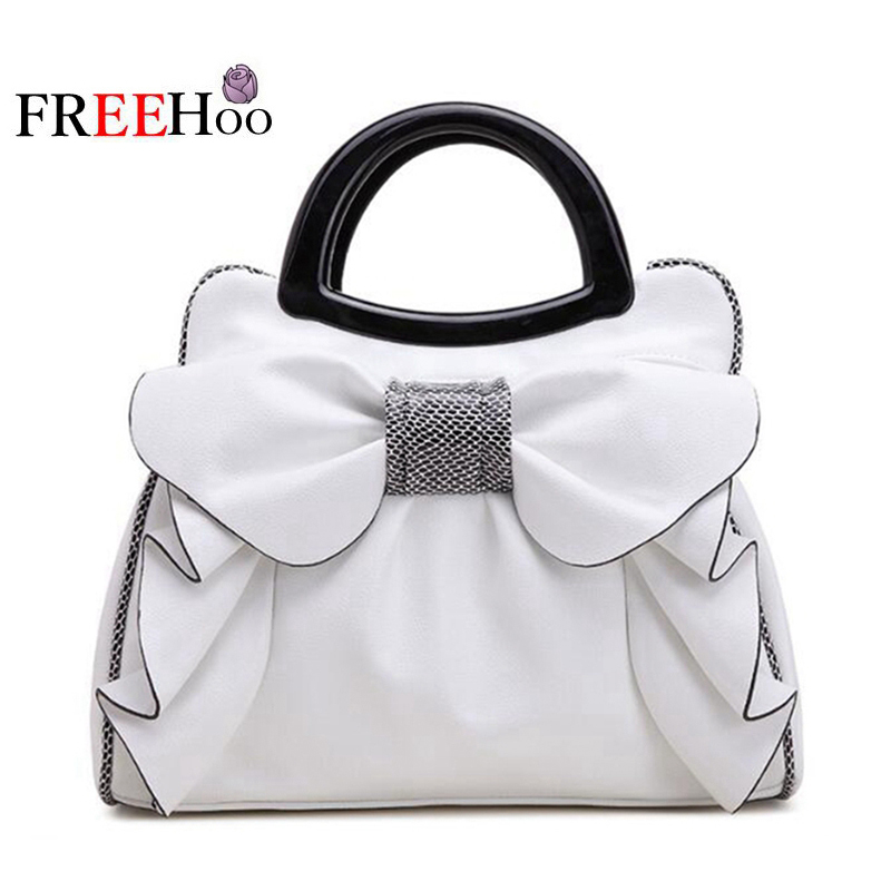 Bags for women 2019 European new fashion white sweet butterfly knot luxury designer pu leather brand