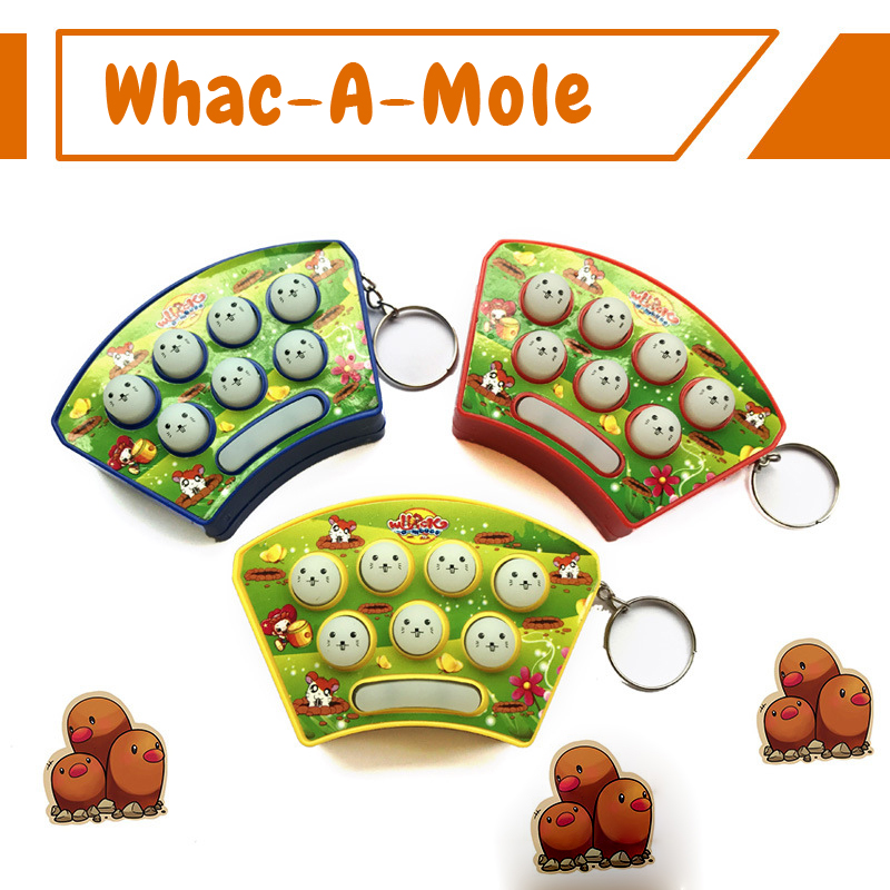 3PCS Hamster Game Mini Handheld Whack-a-mole Game Machine With Key Buckle To Solve The Boring Irritability Decompression Toys