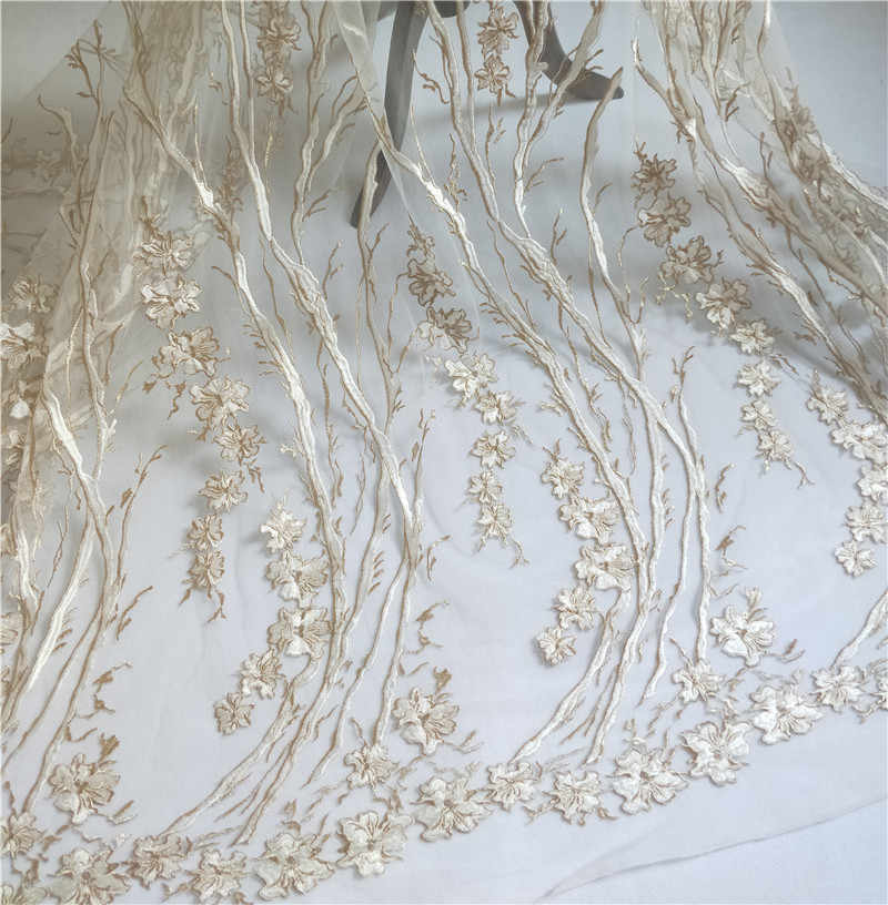 7b7cb6c58d 1 Yard Ivory+gold color tulle mesh embroidered lace fabric! 2019 Women  evening dress